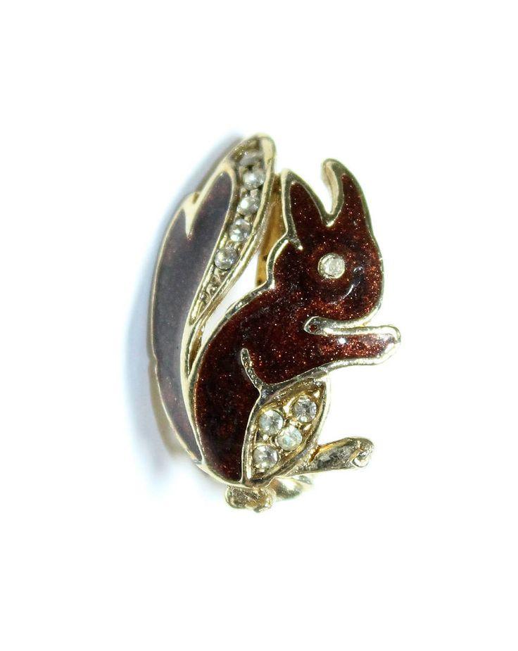 Tiny Brown Enamelled Brown Squirrel Sparkly Rhinestone Diamante Vintage Brooch (c1960s) - Wedding by GillardAndMay on Etsy