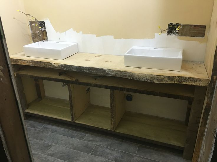 Bathroom Vanity Made From Old Pool Table Wood And Then A