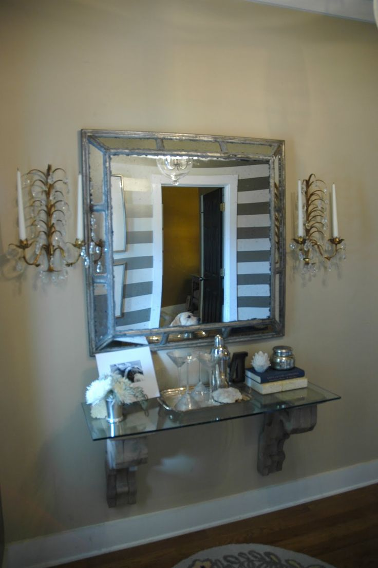 Very small entryway decorating small foyer mirror for Entry wall table