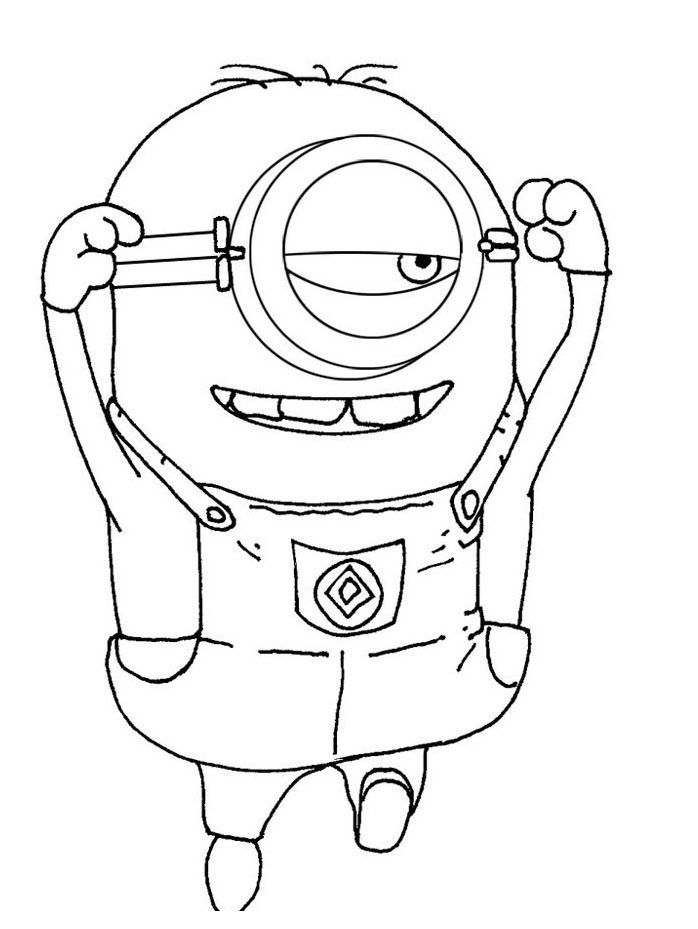 Funny One Eye Minion Despicable Me Coloring Pages For Kids Free Printable