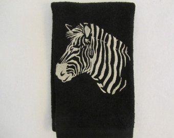 Diseños de Safari cebra (negro) - punta de los dedos, toalla de baño Velour - JD