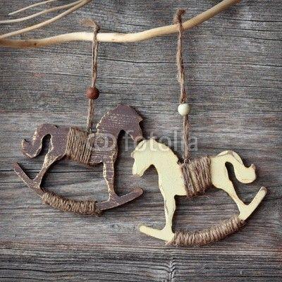 Wooden rocking horses, nice idea for Christmas tree decor
