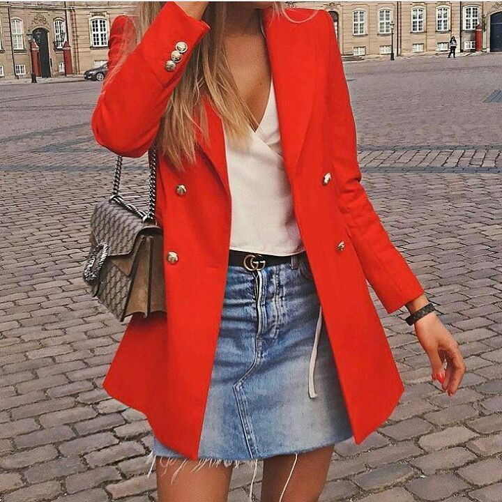 how to wear a bright red blazer
