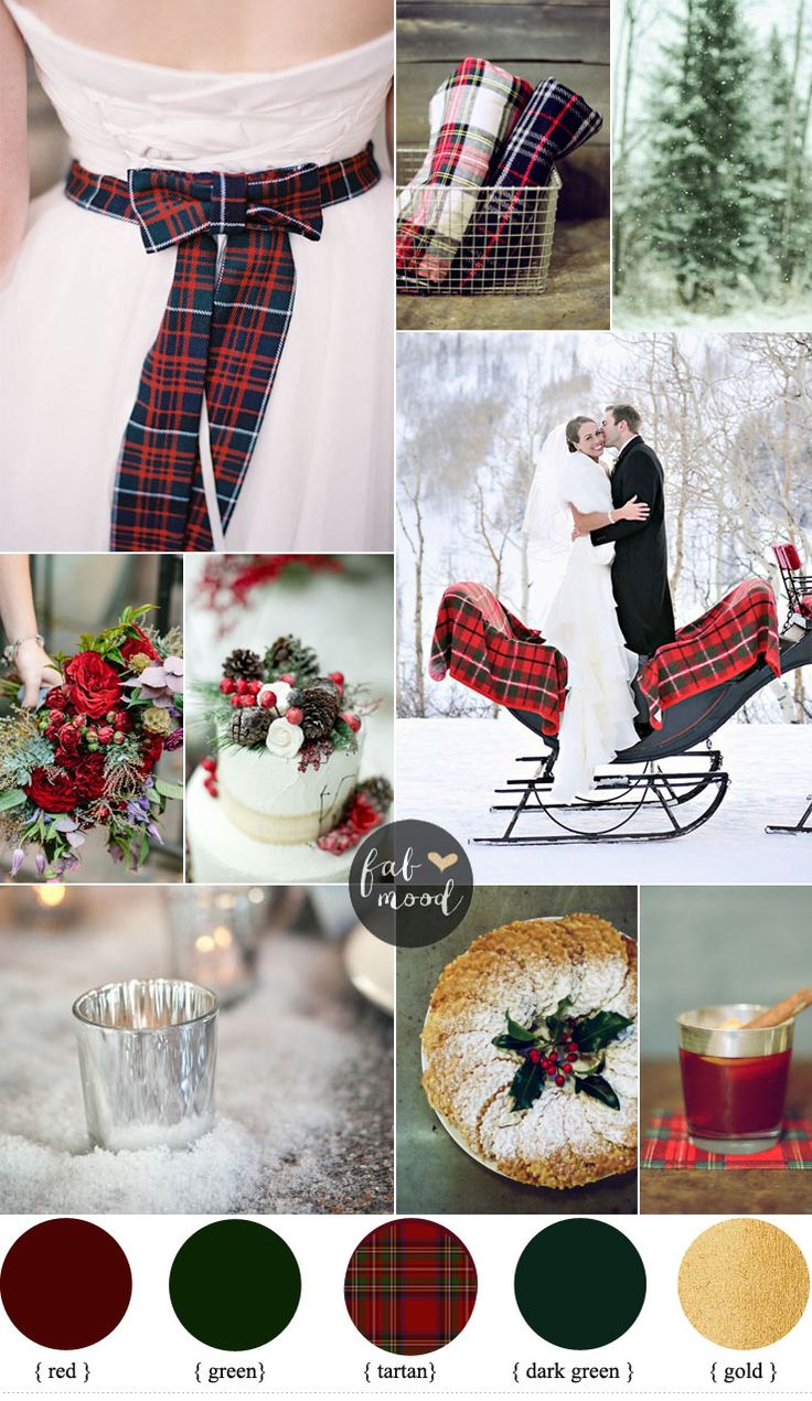 There is something so special about a winter wedding. Icy, sparkling, cozy, and often glamorous. If you are a traditionalist, you will love the classic red, green, and white color combination for your winter wedding. Really play up the spirit of the season by decorating with rich tartans and metallic gold