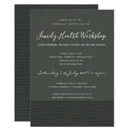 FORMAL BLACK STRIPE LINE WORKSHOP SEMINAR EVENT CARD - birthday gifts party celebration custom gift ideas diy