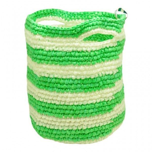 Poipet - medium was- of speelgoedmand gerecycled plastic - gestreept groen/wit