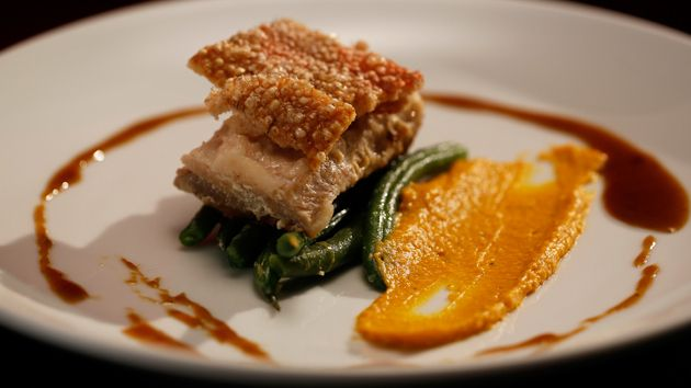 MKR4 Recipe - Poached Pork Belly with Green Beans and Brandy Sauce