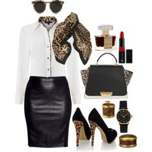 work wear with leopard style #fashionstyle #leopard #polyvore