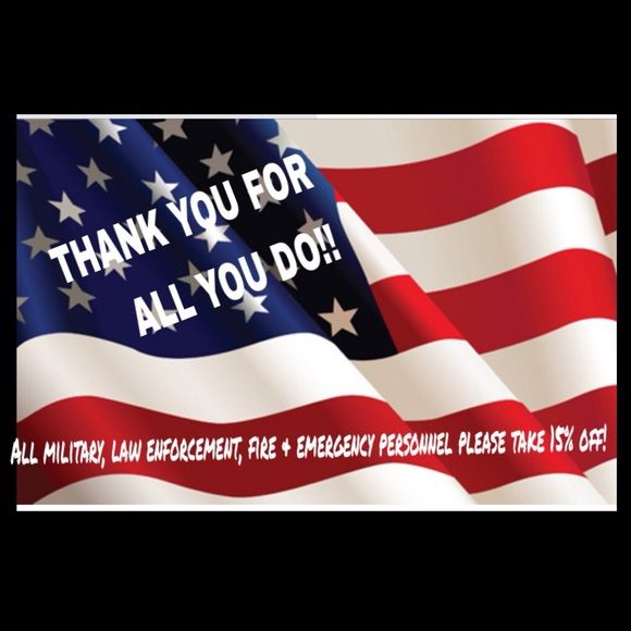 15% Discount!! MILITARY & LAW ENFORCEMENT! In honor of all of our brave men and women serving in the military, law enforcement, fire fighters, and emergency personnel I am offering a 15% Discount on any purchase as a small way to say thank you! I appreciate your tremendous service and sacrifice for your country and communities. Other