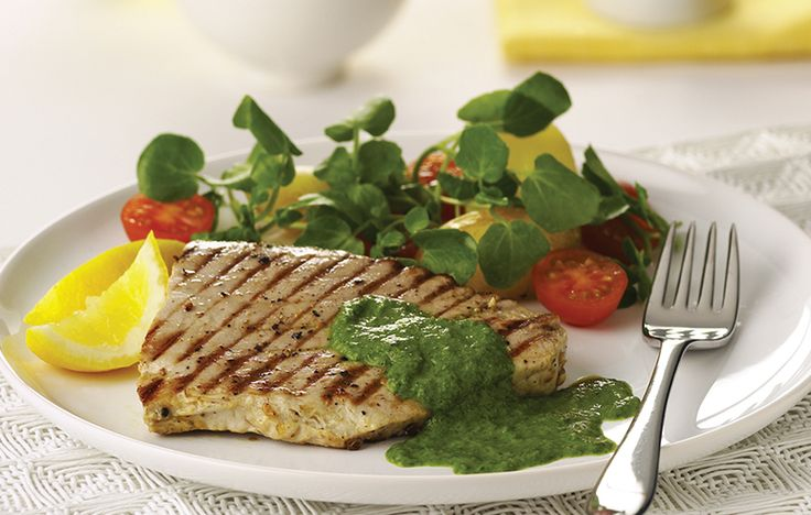 Char-grilled tuna with salsa verde and watercress and chickpea salad. Follow link for full recipe from appetite, North East England's dedicated food & drink publication.