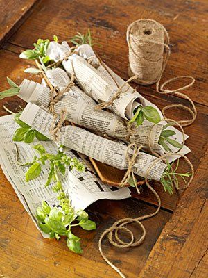 Wrap your herbs in newspaper and tie them with hemp for an aromatic fire starter!