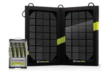 With the GoalZero Guide 10 Plus Recharger and Nomad 7 Solar Panel you have a portable, rugged charging kit as adventurous as you are. Charge AAs from the sun or any USB port, then power your phone, MP3, GPS, or perk up your tablet in a pinch.