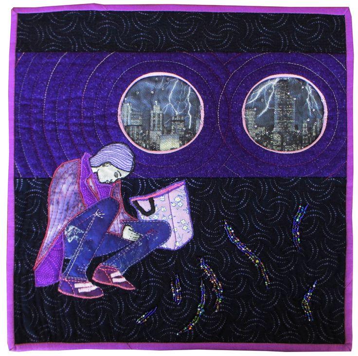 Alone II Aotearoa Quilters Purple Challenge Exhibition 2014 Manawatu Symposium Exhibition 2015 #sophiewoodartist #sophiewood #artquilt #textileart www.sophiewoodartist.com