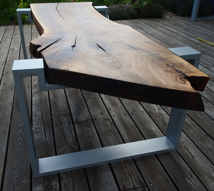 Diagonal console walnut live edge coffee table aluminium legs cracks console loft attic asymmetric contemporary art industrial slice slab bizzare diagonal coffee table top table cracks