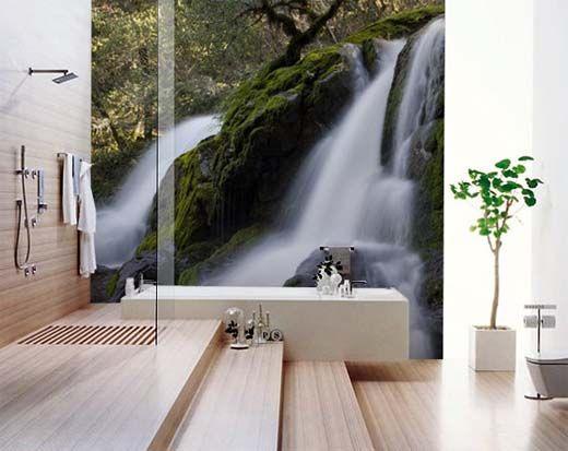 Bathroom Wall Decor Waterfall And Light Wood Home