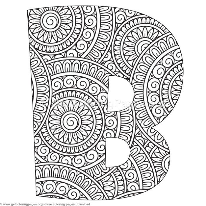 Mandala Alphabet Letters B Coloring Pages Free Instant Download Coloring Coloringbook Coloring Lettering Alphabet Mandala Art Lesson Letter B Coloring Pages