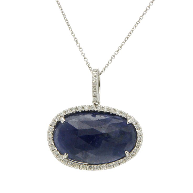 Sterling Silver 0.43ct Natural Blue Sapphire & Diamond Leaf Pendant on Chain N7noZFkg6d