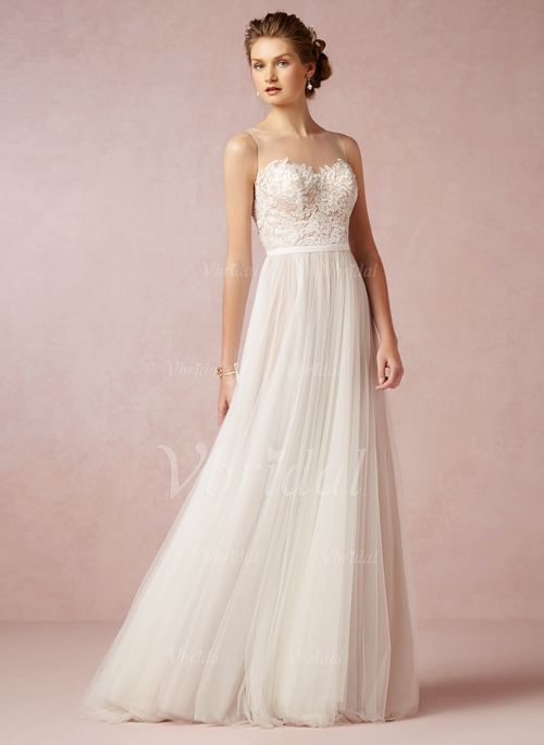 Wedding Dresses - $168.66 - A-Line/Princess Scoop Neck Sweep Train Tulle Wedding Dress With Lace (0025057553)