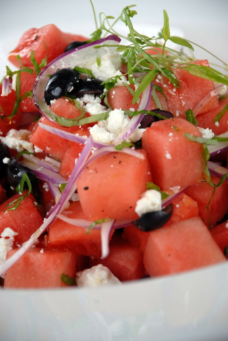 The best way to get your red and white? Watermelon and feta. This refreshing summer salad is perfect for Canada Day: http://gustotv.com/recipes/salads/watermelon-feta-black-olive-salad/