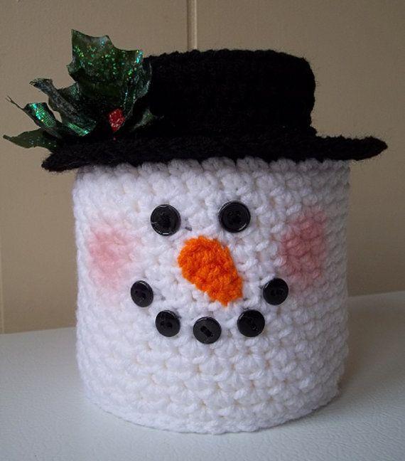 Crochet Snowman Toilet Paper Cover Bath by KarensCrochetCottage