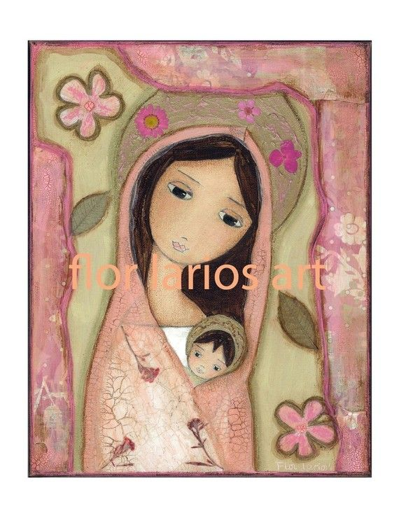 Madonna in Pink  Folk Art  PRINT from Mixed Media by FlorLarios, $15.00