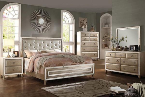 Acme Voeville Antique Gold Mirrored Bedroom Set Bedrooms