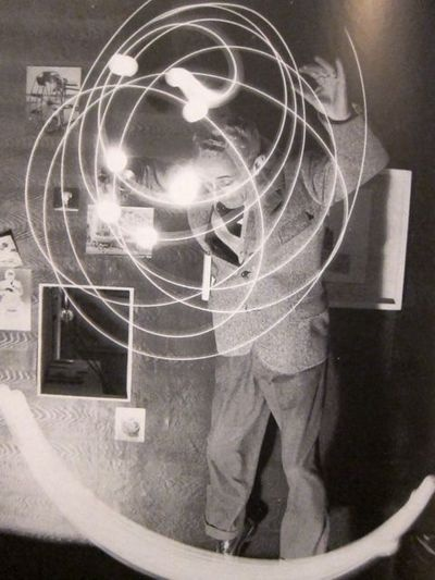 Bruno Munari drawing with light, 1950s