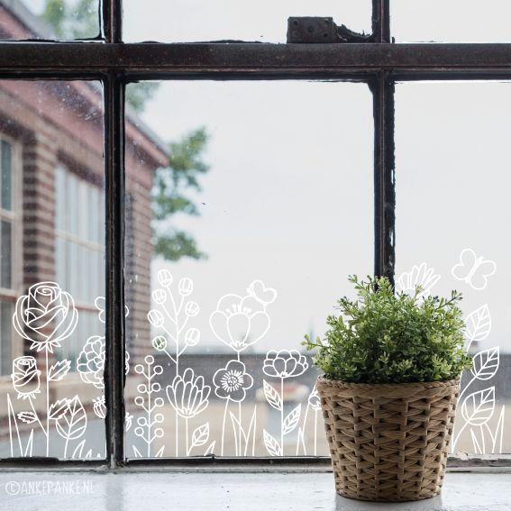 Mooie bloemen raamtekening, voor als je (nog meer) natuur in je huis wil hebben!