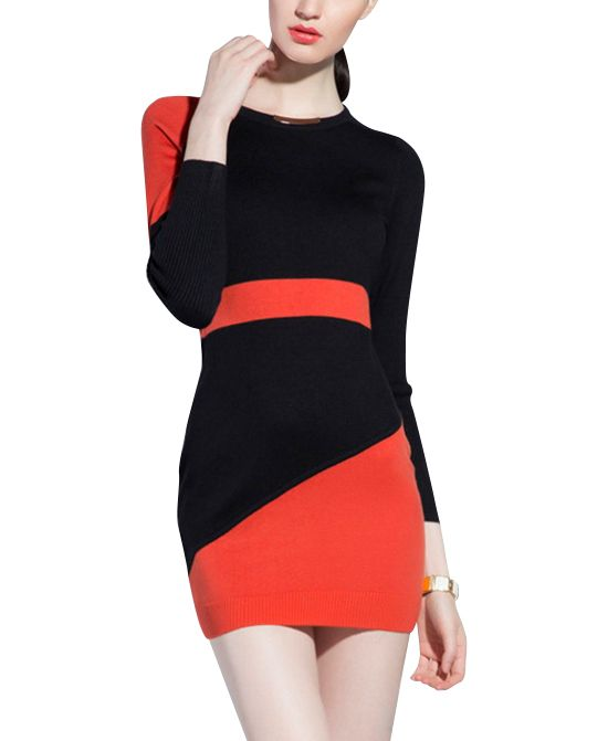 Contrast Color Long Sleeves Dress