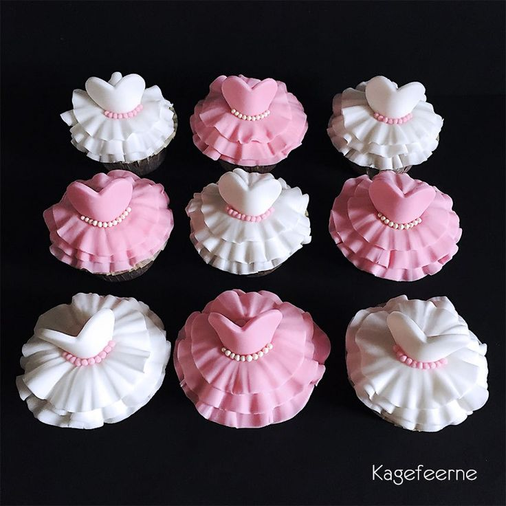 Ballet cupcakes - tutu in white and pink