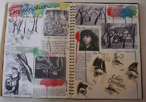 sketchbook pages inking techniques - Google Search
