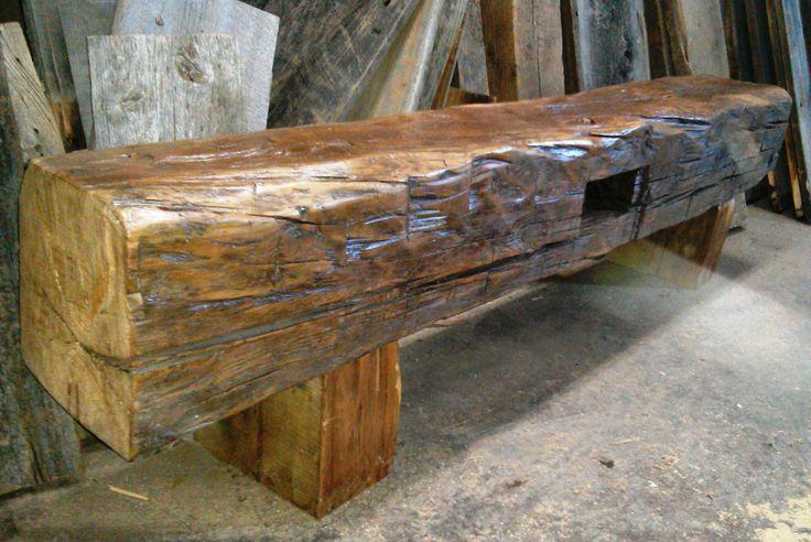 Mr. Beam reclaimed barn beam bench by barnboardstore.com