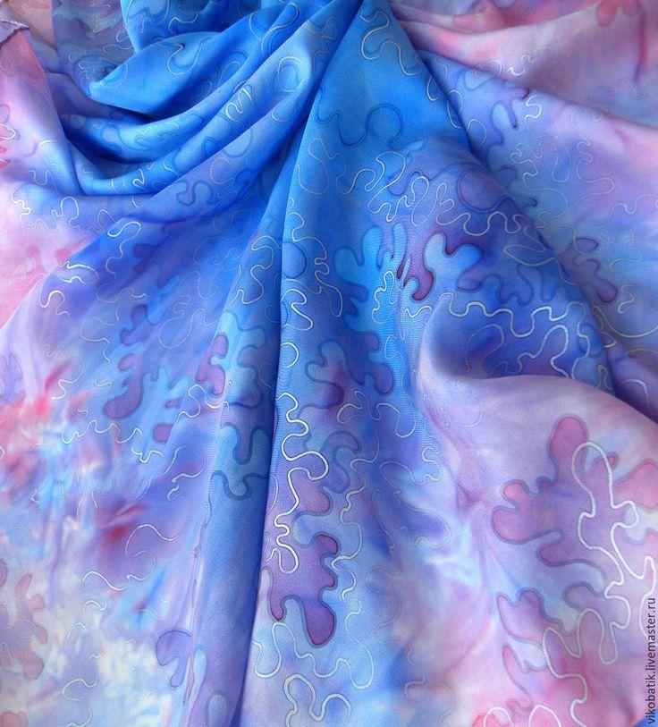 """Купить Платок батик большой """"Розовые Кораллы""""голубой розовый шелк натур 100% - батик платок"""