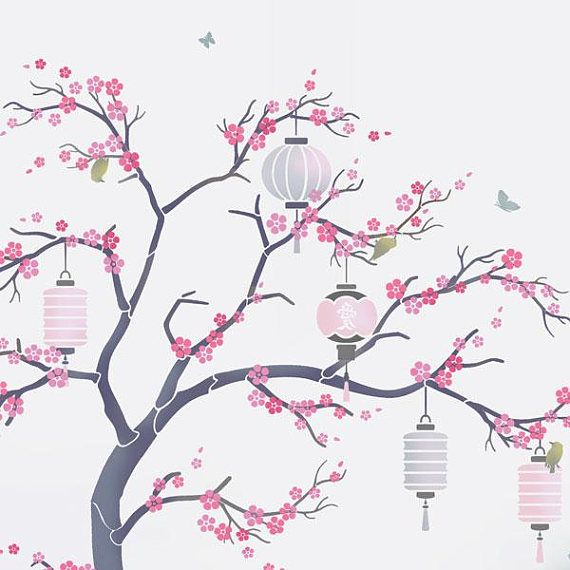 Japanese Cherry Blossom Sakura and lanterns Nursery Tree Stencil Pack – all the stencils you need to create a beautiful painted wall mural