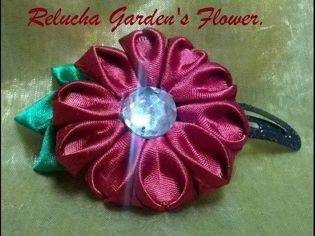 Kanzashi #70 - Linda Flor de Tecido Cetim -  Novo modelo de pétala ! - DIY - Satin Flower.