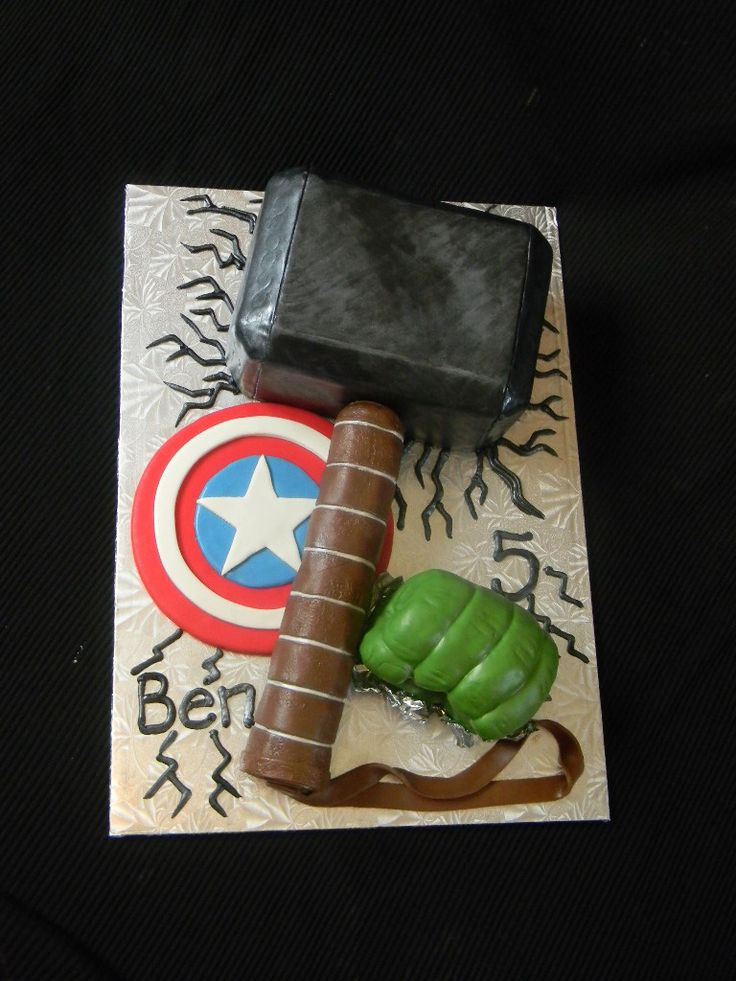 Avengers Cake | Thor's Hammer, Captain America's Sheild and … | Flickr - Photo Sharing!