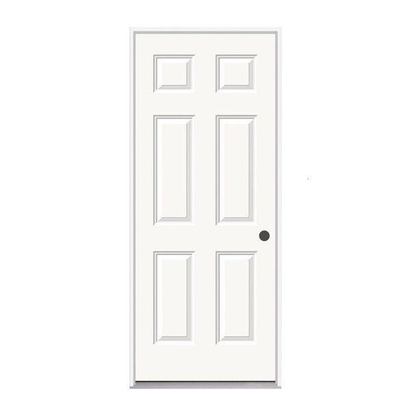 32 In X 80 In Pro Steel 6 Panel Left Hand Steel Entry Door