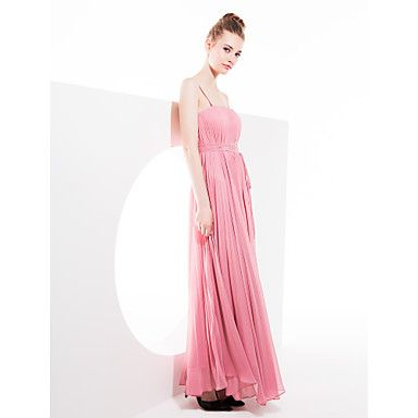 selubung / kolom tali georgette asimetris gaun pengiring pengantin (1469122) - USD $ 119.99
