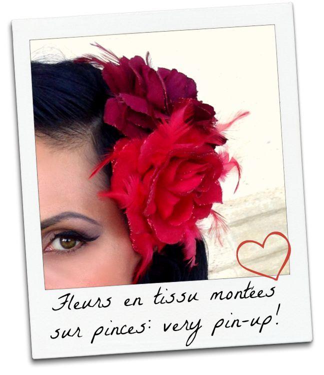 Fleurs en tissu montées sur pinces pour un look pin-up réussi! Missretrochic.com