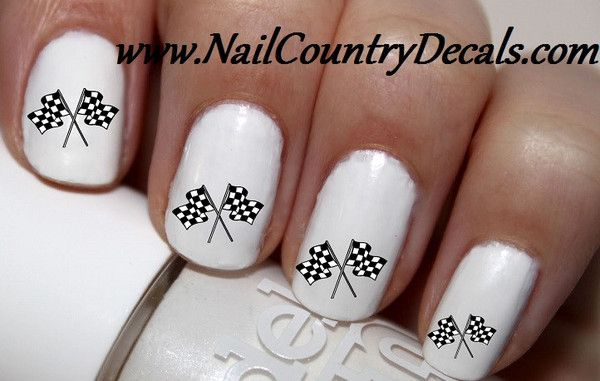 "#SALE #NAILS #COUPON Code ""PINTEREST""  Saves You 15% Off 50pc Racing Race Flags Checker Flags Nail Decals Nail Art Nail Stickers Best Price NC792"