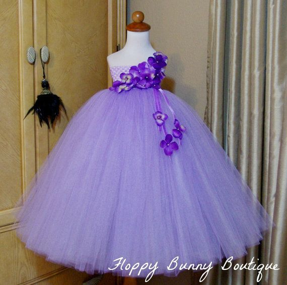 Hydrangea Collection Shelene tutu dress in lavender features our signature empire bodice and depending on size, dress is made with 3-5 layers of premium quality made in the USA tulle. Tulle is hand tied directly onto a crochet band giving you a dress that is very full and princess