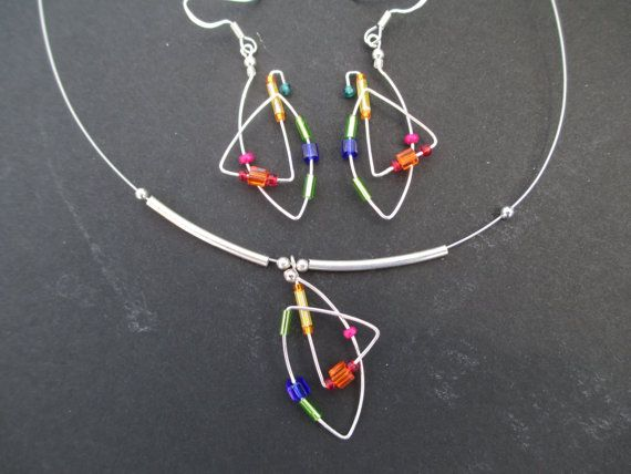 Geometric vibrant  colorful earrings necklace set  by Lexana2, $45.00