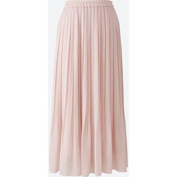 UNIQLO Women's High Waist Chiffon Pleated Skirt ($30) ❤ liked on Polyvore featuring skirts, pink, long pleated chiffon skirt, pink maxi skirt, pink pleated skirt, long pleated skirt and pleated chiffon maxi skirts
