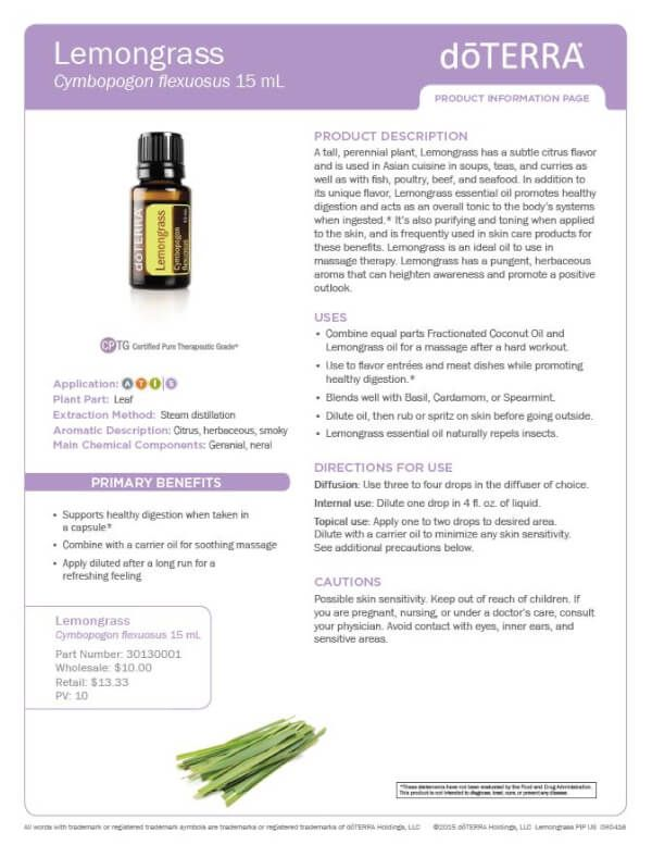 doTERRA lemongrass Essential Oil Uses