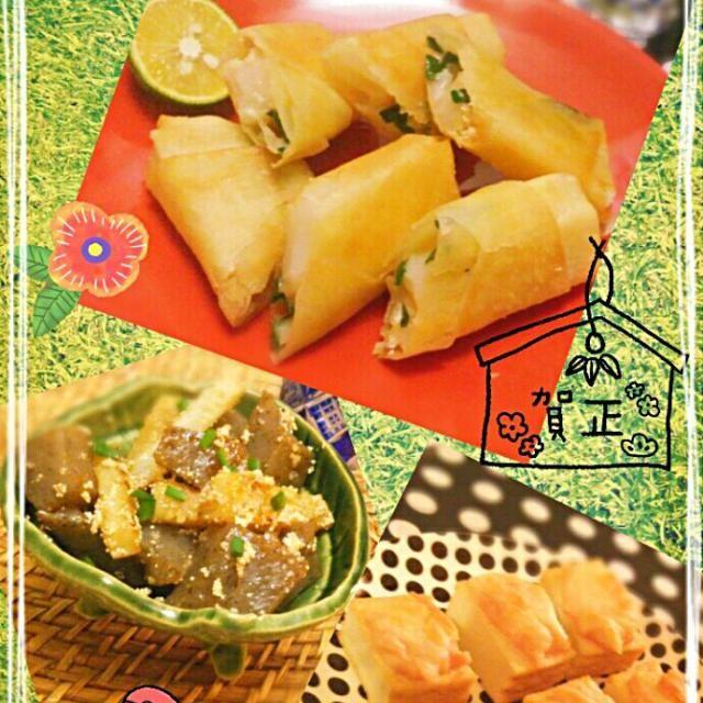 12月九州に修学旅行に行った長男 のお土産明太子餅で三品作りました♪  春巻きは 餅料理でこれもベスト3に入る食べ方ですσ(*´∀`*)おつまみに最高♪  あとは、ちぎった蒟蒻、長芋と炒め 少しのお醤油で味付けしたもの。 厚揚げに明太子マヨをのせ、ピザチーズのせてオーブントースターで焼いたものです(*´ω`*) - 295件のもぐもぐ - 長男お土産明太子で☆~明太マヨチーズねぎ餅 春巻き♪他 by macaronT
