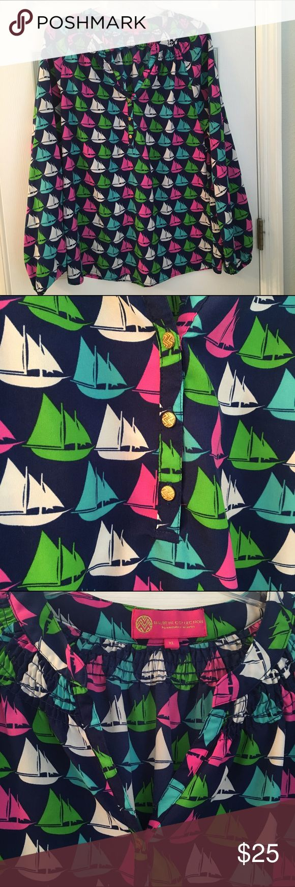 """""""Elsa style"""" Macbeth Collection nautical blouse Nautical blouse – similar style to the Elsa top from Lilly Pulitzer. In excellent condition super vibrant colors. Not silk. Macbeth Collection Tops Blouses"""