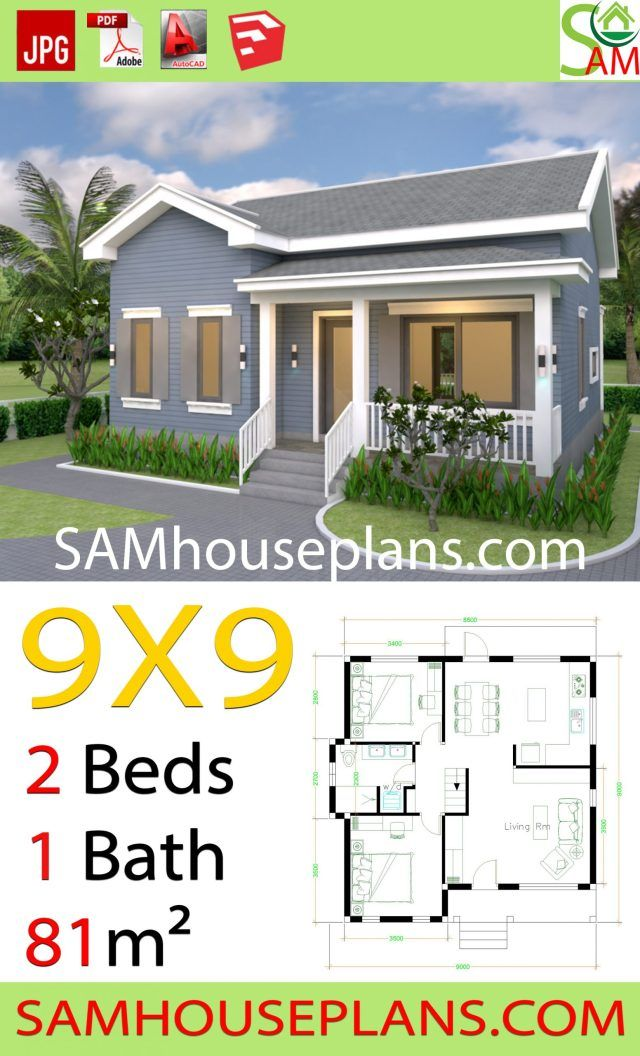 House Plans 9x9 with 2 Bedrooms Gable Roof Sam House Plans Gable roof house Model house plan Small house design plans