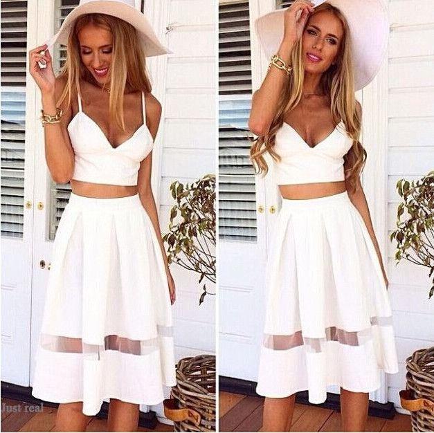 Women White Spaghetti Strap Two Piece Set Dress Fashion Two Piece Knee-Length Casual Party Dress Vestidos Dresses