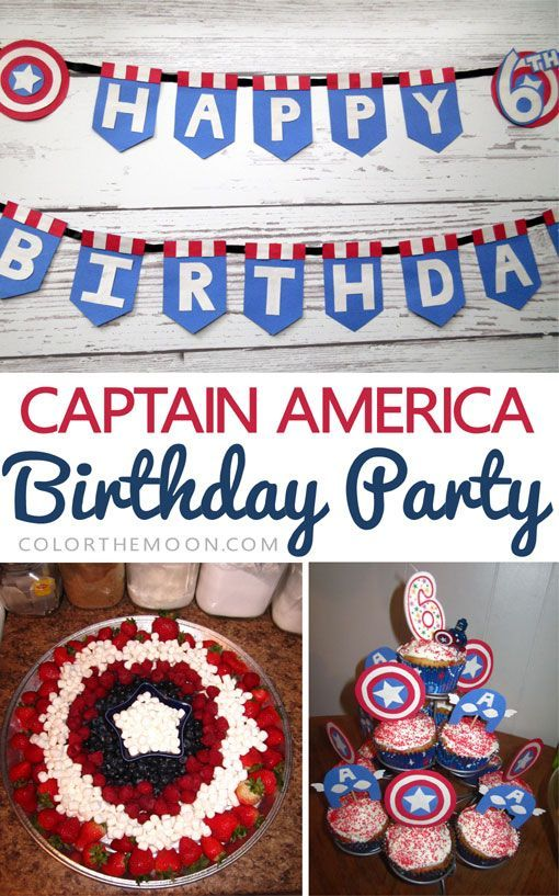 These Captain America birthday party ideas are AWESOME! From adorable cupcake toppers, to shield-themed fruit platters, and handmade banners! Captain America fans will love these!