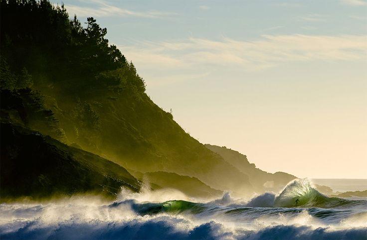misty cliffs, turbulent waves
